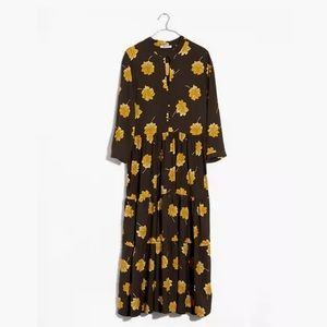 Madewell Fall Flowers Button-Front Tier Dress L